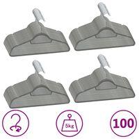 vidaXL 100 pcs conjunto de cabides antiderrapantes veludo cinzento