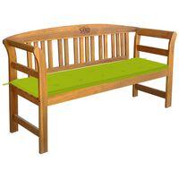 vidaXL Banco de jardim com almofadão 157 cm madeira de acácia maciça