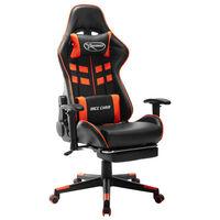 vidaXL Cadeira gaming c/ apoio de pés couro artificial preto/laranja