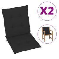 vidaXL Almofadões para cadeiras de jardim 2 pcs preto 100x50x7 cm