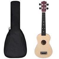 "vidaXL Conjunto ukulele soprano infantil c/ saco madeira clara 23"""