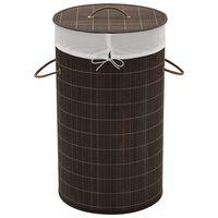 vidaXL Cesto redondo para roupa suja bambu castanho escuro