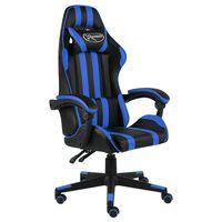 vidaXL Cadeira estilo corrida couro artificial preto e azul