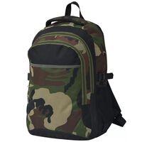 vidaXL Mochila escolar 40 L preto e camuflagem