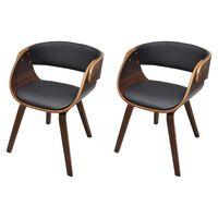 vidaXL Cadeiras jantar 2 pcs madeira curvada couro artificial castanho