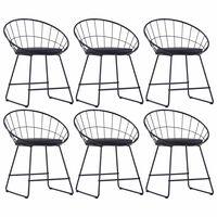 vidaXL Cadeiras jantar c/ assentos em couro artificial 6 pcs aço preto