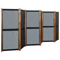 vidaXL Divisória com 6 painéis 420x170 cm preto