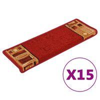vidaXL Tapetes de escada autoadesivos 15 pcs 65x25 cm vermelho