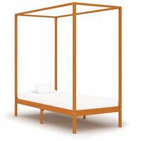 vidaXL Estrutura de cama com toldo 100x200cm pinho maciço castanho mel