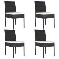 vidaXL Cadeiras de jantar para jardim 4 pcs vime PE preto