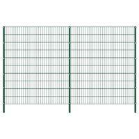 vidaXL Painel de vedação com postes ferro 3,4x2 m verde
