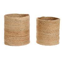vidaXL Conjunto cestos de arrumação 2 pcs juta artesanal natural