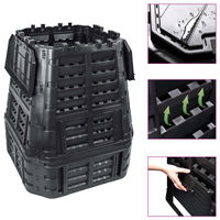 vidaXL Caixote de compostagem para jardim 93,3x93,3x113 cm 740 L preto