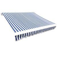 vidaXL Lona para toldo azul/branco 4 x 3 m (sem estrutura/caixa)