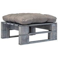 vidaXL Otomano de paletes com almofadão cinza madeira cinzento