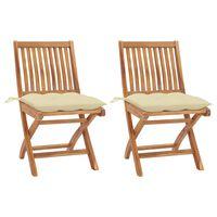 vidaXL Cadeiras de jardim c/ almofadões branco creme 2 pcs teca maciça