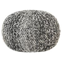 vidaXL Pufe tricotado à mão 50x35 cm aspeto de lã cinzento-escuro