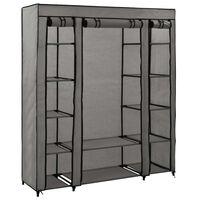 vidaXL Roupeiro c/ compartimentos e varões 150x45x176 cm tecido cinza