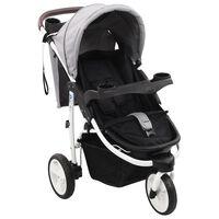 vidaXL Carrinho de bebé com três rodas cinzento e preto