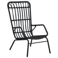 vidaXL Cadeira de jardim vime PE preto