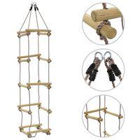 vidaXL Escada de corda infantil 200 cm madeira