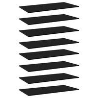 vidaXL Prateleiras para estante 8 pcs 80x30x1,5cm contraplacado preto