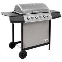 vidaXL Grelhador/barbecue a gás 6 discos preto e prateado