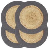 vidaXL Individuais mesa 4 pcs juta e algodão 38 cm natural/antracite
