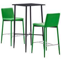 vidaXL 3 pcs conjunto de bar couro artificial verde