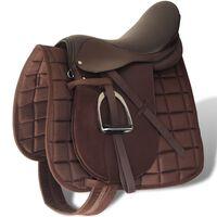"""Sela para equitação 16"""", couro natural 14 cm 5-in-1 / Marrom"""