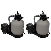 vidaXL Bombas de filtragem por areia 2 pcs 600 W 17 000 l/h