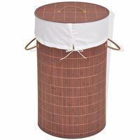 vidaXL Cesto redondo para roupa suja bambu castanho