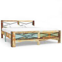 vidaXL Estrutura de cama madeira recuperada maciça 140x200 cm