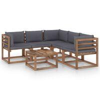 vidaxL 6 pcs conjunto lounge c/ almofadões antracite pinho impregnado