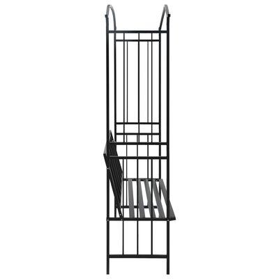 vidaXL Arco de jardim com banco 128x50x207 cm ferro preto