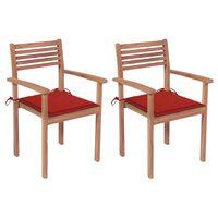 vidaXL Cadeiras de jardim c/ almofadões vermelhos 2 pcs teca maciça
