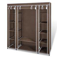 vidaXL Armário tecido c/ compartimentos e varões 45x150x176cm castanho