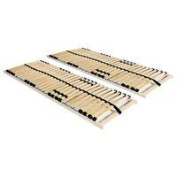 vidaXL Estrados de ripas 2 pcs com 28 ripas 7 zonas 90x200 cm