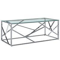 vidaXL Mesa centro 120x60x40cm vidro temp./aço inoxidável transparente