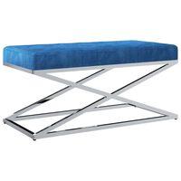 vidaXL Banco 97 cm veludo e aço inoxidável azul