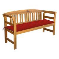 vidaXL Banco de jardim com almofadão 157 cm madeira de teca maciça