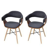 vidaXL Cadeiras jantar 2 pcs madeira curvada e tecido cinzento-escuro
