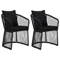 vidaXL Cadeiras jardim 2 pcs c/ almofadões e almofadas vime PVC preto