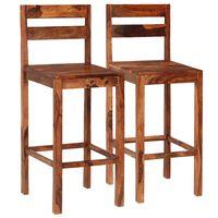 vidaXL Cadeiras de bar 2 pcs madeira sheesham maciça castanho