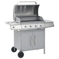 vidaXL Grelhador/barbecue a gás 4+1 zonas de cozinhar prateado