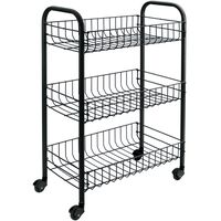"Metaltex Kitchen Trolley with 3 Baskets ""Siena"" Black"