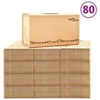 vidaXL Caixas para mudanças XXL 80 pcs 60x33x34 cm