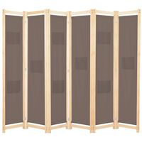 vidaXL Divisória de quarto com 6 painéis 240x170x4 cm tecido castanho