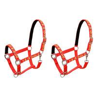 vidaXL Cabrestos 2 pcs para cavalo tamanho full nylon vermelho