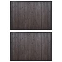 Tapetes casa de banho, bambu 2 pcs 40 x 50 cm castanho escuro
